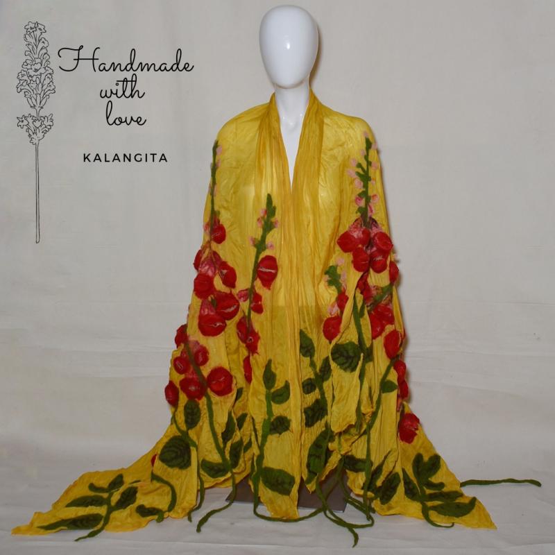 Silk scarf, 3d Nuno felt...