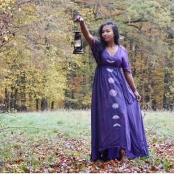 Hand-dyed silk moon dress,...
