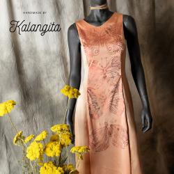Long silk dress with high...