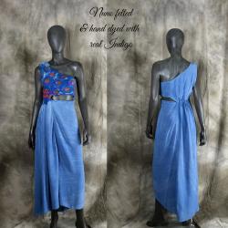 Blue Long silk dress,...