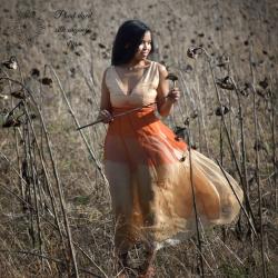 Ombré silk gown, silk dress...